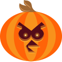 angry, bird, halloween, jack-o-lantern, pumpkin, scary, spooky icon