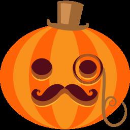 halloween, jack-o-lantern, monocle, posh, pumpkin, tophat icon