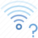 connection, help, hotspot, question mark, signal, wifi, wireless icon