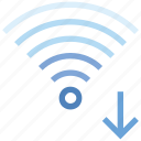 arrow, connection, down, hotspot, signal, wifi, wireless icon