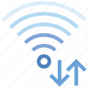 arrows, connection, hotspot, signal, up and down, wifi, wireless icon