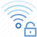 connection, hotspot, secure, signal, unlock, wifi, wireless icon