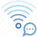 bubble, connection, hotspot, message, signal, wifi, wireless icon