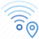 connection, hotspot, location, map pin, signal, wifi, wireless icon