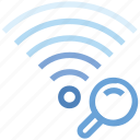 connection, hotspot, magnifier, search, signal, wifi, wireless icon