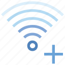 add, connection, hotspot, plus, signal, wifi, wireless icon