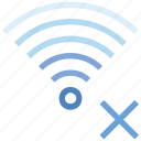 connection, cross, delete, hotspot, signal, wifi, wireless icon