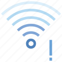 connection, exclamation, hotspot, mark, signal, wifi, wireless icon