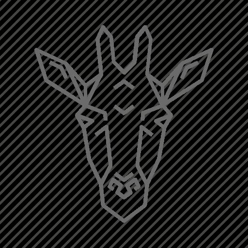 abstract, animal, giraffe, nature, outline, wild, zoo icon