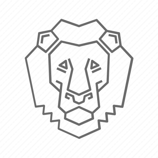 abstract, animal, lion, nature, outline, wild, zoo icon