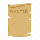 criminal, paper, sign, wanted icon