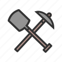 axe, metal, spade, tool, tools, wild, work icon