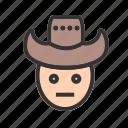 cowboy, hat, male, man, person, west, wild icon