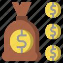 bag, bank, commerce, dollar, money, symbol, western icon