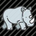dangerous, herbivore, large, rhino, safari, strong, wildlife icon