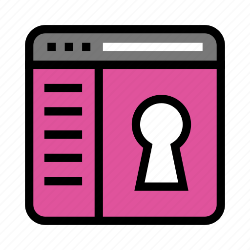 browser, internet, lock, security, webpage icon