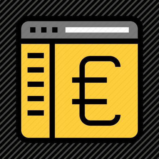 browser, euro, internet, online, webpage icon