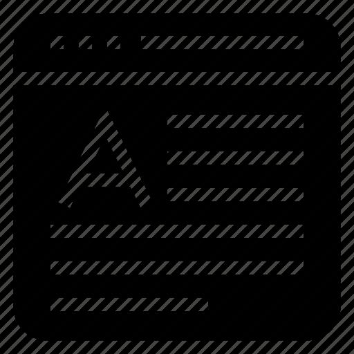 font, internet, online, webpage, window icon