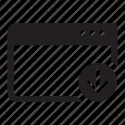 arrow, browser, down, download, internet, web, window icon