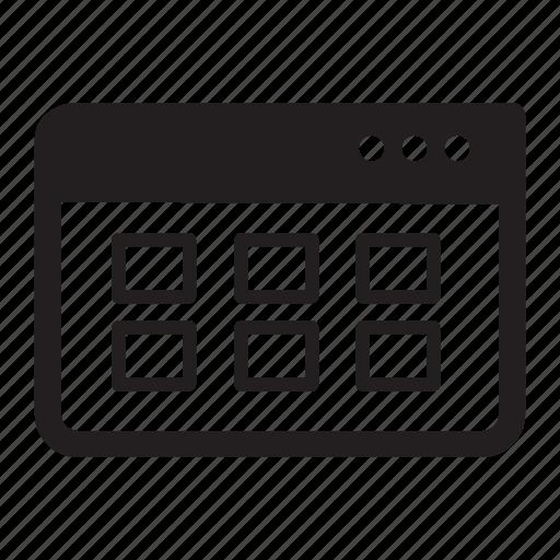 browser, gallery, grid, internet, web, window icon