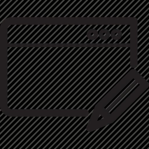 browser, edit, pen, window icon