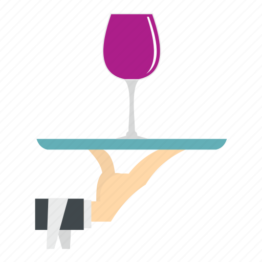 alcohol, drink, glass, hand, tray, waiter, wine icon