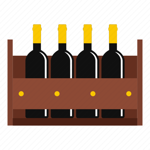 alcohol, bottle, crate, drink, wine, wood, wooden icon