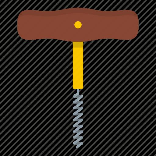 cork, corkscrew, drink, screw, tool, wine, wooden icon
