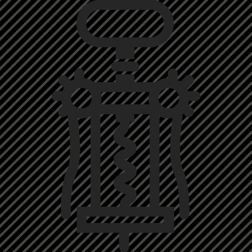corkscrew, opener, tool, wine icon