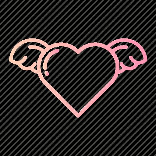 cupid, heart, love, romance, valentines, wedding, wings icon