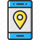 gps, location pointer, map pointer, mobile app, smartphone icon