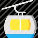 automobile, cable car, cable car cabin, ski resort, transportation icon