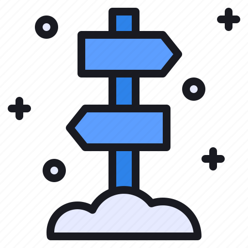 arrow, cold, direction, post, sign, snow, winter icon