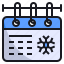 calendar, christmas, date, event, season, snowflake, winter icon