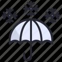 cold, protection, season, snow, snowflake, umbrella, winter icon