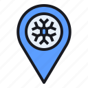 location, map, pin, season, snow, snowflake, winter icon