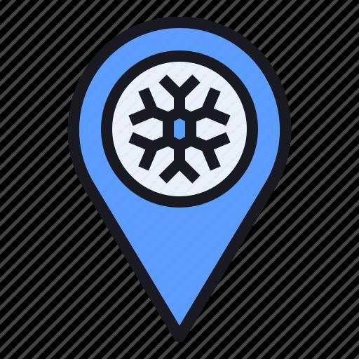 location, map, pin, season, snow, snowflake, winter icon