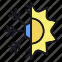 season, snow, snowflake, sun, sunny, weather, winter icon