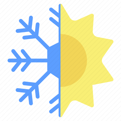 season, snow, snowflake, sun, sunny, weather, winter icon