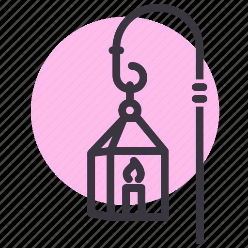 candle, lamp, lantern, light, night, street, winter icon