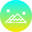 hills, landscape, mountain, scenery, snow, winter icon