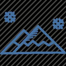hills, landscape, mountain, scenery, snow, winter icon