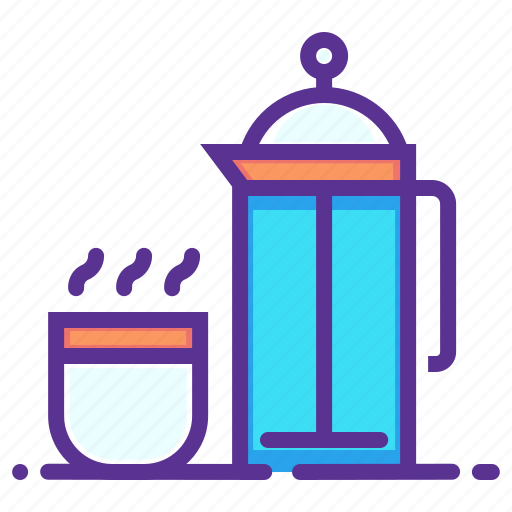 Coffee, cup, flask, hot, presser, thermos, hygge icon - Download on Iconfinder