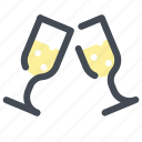 alcohol, champagne, glasses, holiday, holidays, new year, winter icon