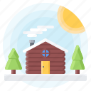 christmas, house, new, sun, tree, winter, year icon