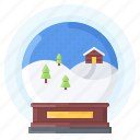 ball, christmas, house, snow, snowfall, tree, winter icon