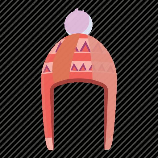 accessory, cap, cartoon, fashion, hat, pompom, warm icon