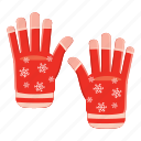 cartoon, cloth, fashion, gloves, hand, snow, winter icon