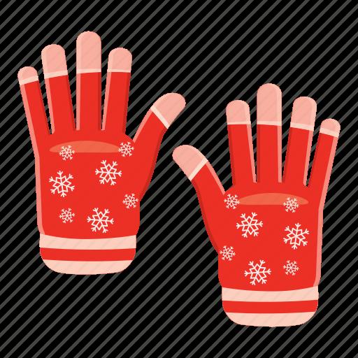 cartoon, cloth, fashion, gloves, hand, snow, winter icon