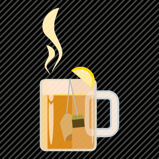 cartoon, glass, heat, hot, mug, saucer, tea icon
